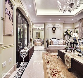 优雅264平欧式样板间客厅装修美图样板间欧式豪华家装装修案例效果图