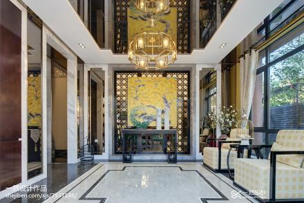 2018116平米中式别墅客厅装修设计效果图片别墅豪宅中式现代家装装修案例效果图