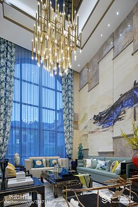平米中式别墅客厅装修效果图别墅豪宅中式现代家装装修案例效果图