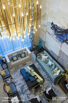 精美面积144平别墅客厅中式装修图片大全别墅豪宅中式现代家装装修案例效果图