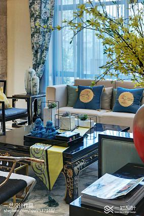 2018精选125平米中式别墅客厅装修效果图片别墅豪宅中式现代家装装修案例效果图