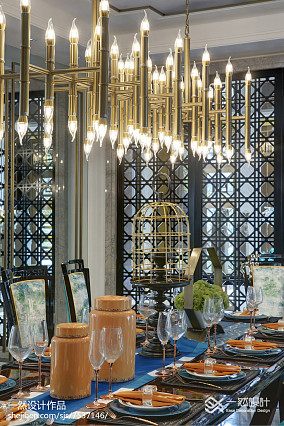 热门120平方中式别墅餐厅装修效果图片别墅豪宅中式现代家装装修案例效果图
