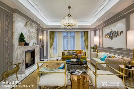 大小132平别墅客厅简欧设计效果图别墅豪宅北欧极简家装装修案例效果图