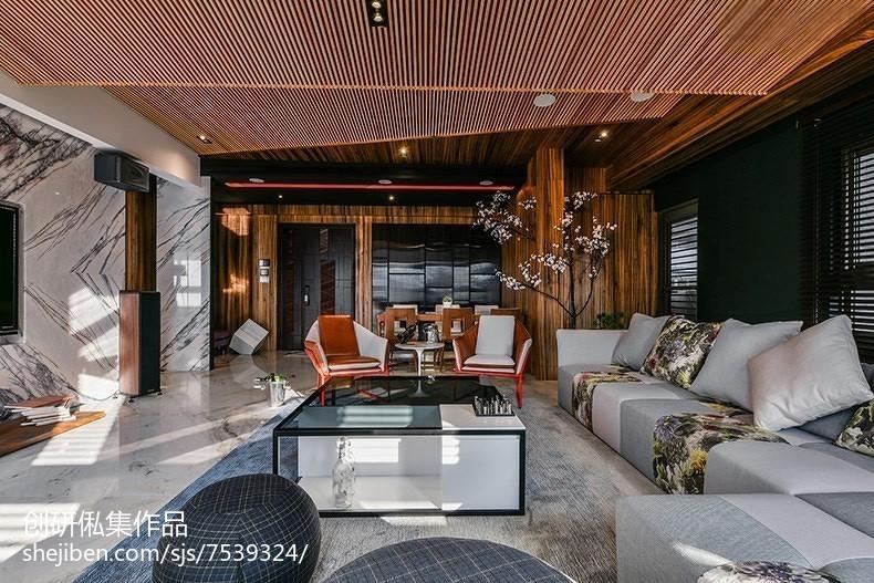 平米三居客厅中式实景图片欣赏三居中式现代家装装修案例效果图