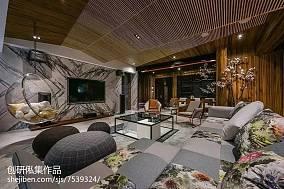 中式风格背景墙设计案例三居中式现代家装装修案例效果图