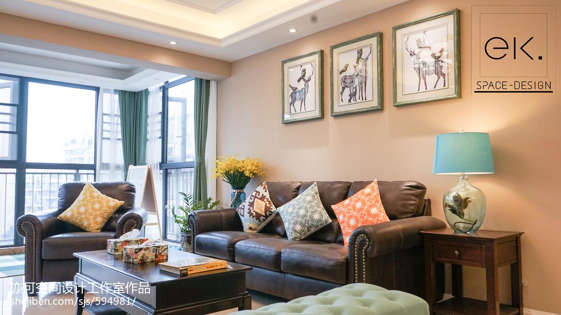 成都万科魅力之城220跃层客厅美式经典客厅设计图片赏析