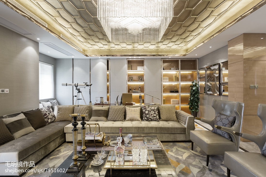 悠雅270平简欧样板间客厅装修效果图北欧极简设计图片赏析