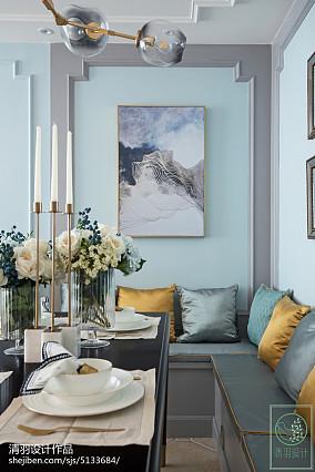 精选104平方三居餐厅美式装修设计效果图片大全三居美式经典家装装修案例效果图