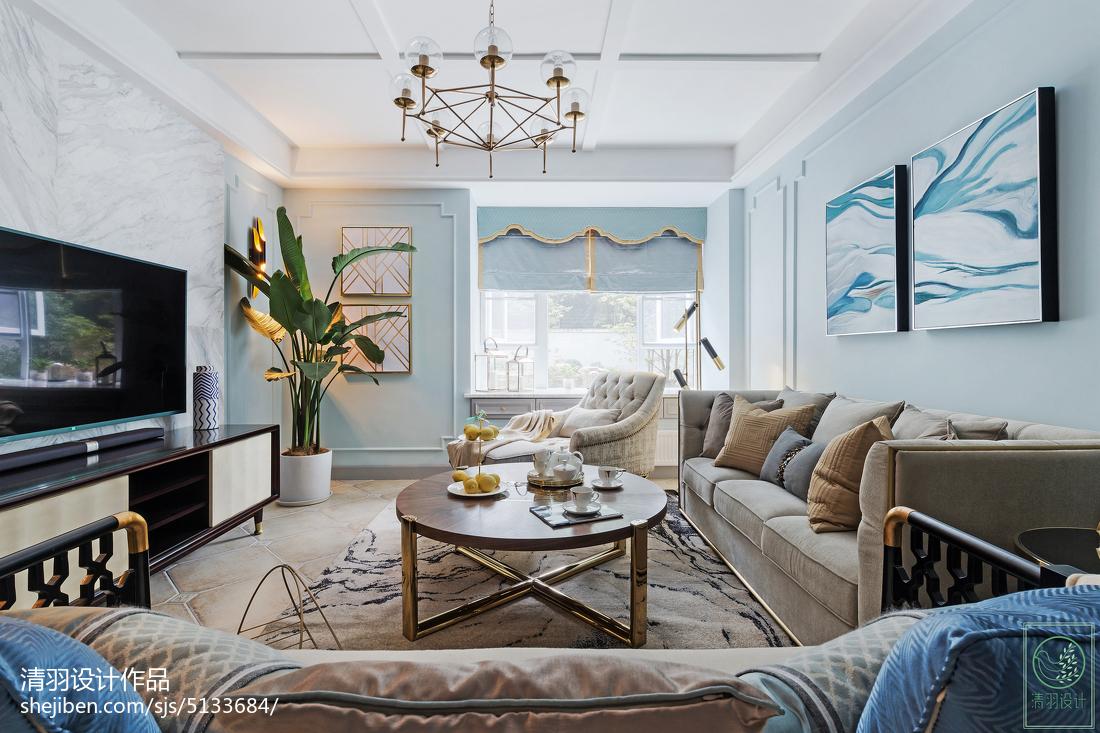 简洁110平美式三居装修案例三居美式经典家装装修案例效果图
