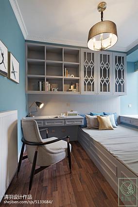 精选108平米三居书房美式装修设计效果图片大全三居美式经典家装装修案例效果图