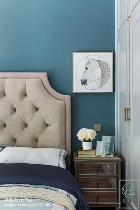 面积107平美式三居卧室欣赏图片三居美式经典家装装修案例效果图