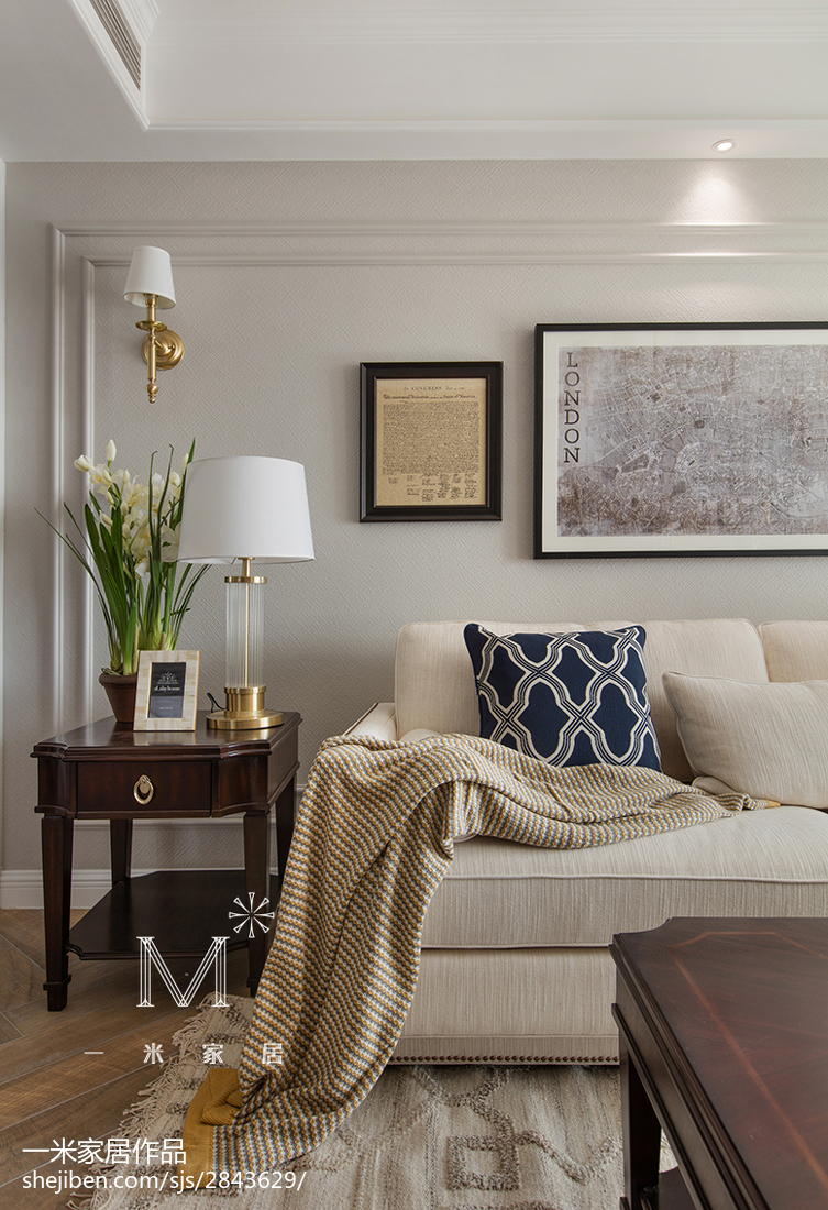 悠雅137平美式三居装修图三居美式经典家装装修案例效果图
