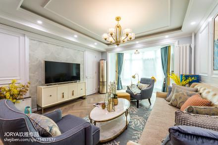 质朴107平美式三居装饰图客厅