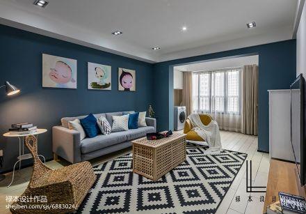 2018精选85平方二居客厅现代装修设计效果图片欣赏二居现代简约家装装修案例效果图