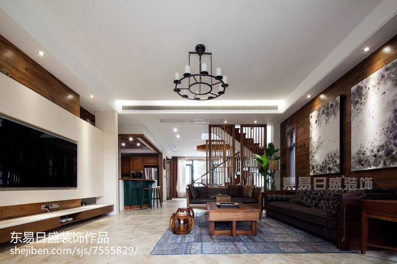 热门面积122平别墅客厅中式实景图片别墅豪宅中式现代家装装修案例效果图