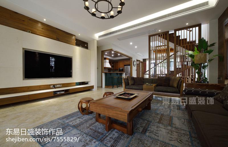 新中式风格别墅背景墙装修客厅中式现代客厅设计图片赏析