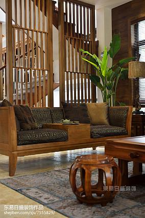 平米中式别墅客厅装饰图别墅豪宅中式现代家装装修案例效果图