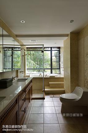 精美141平米中式别墅卫生间装修实景图片别墅豪宅中式现代家装装修案例效果图