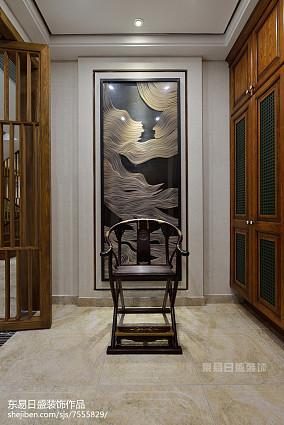 悠雅508平中式别墅过道装饰图片别墅豪宅中式现代家装装修案例效果图