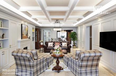 热门137平米美式别墅客厅效果图片别墅豪宅美式经典家装装修案例效果图
