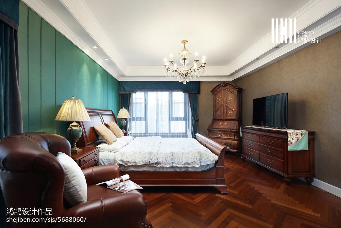 面积114平别墅卧室美式装修图片欣赏卧室窗帘美式经典卧室设计图片赏析