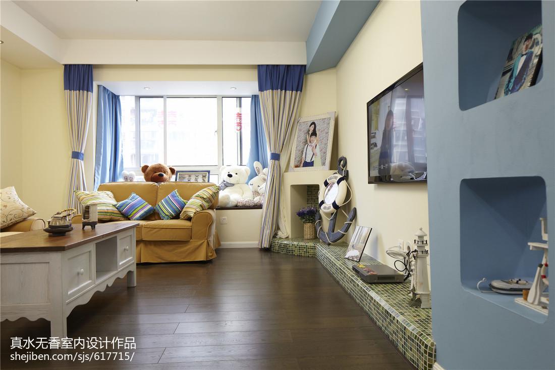 蓝色系地中海风格客厅设计卧室地中海卧室设计图片赏析
