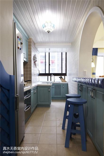 精美面积92平地中海三居厨房设计效果图餐厅2图