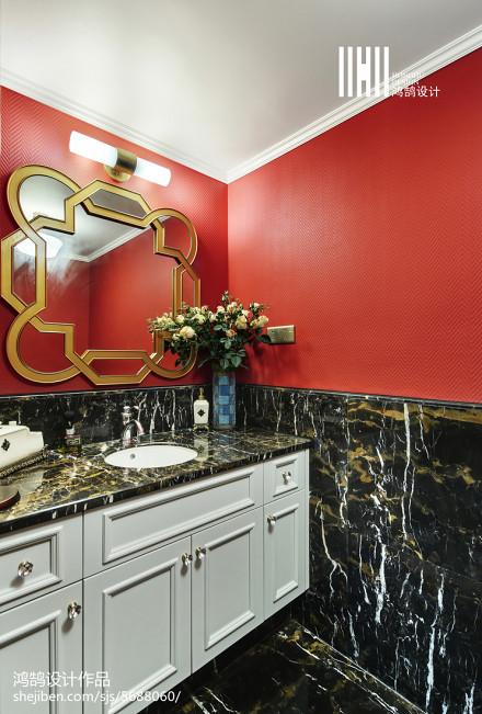面积107平美式三居卫生间装修欣赏图餐厅