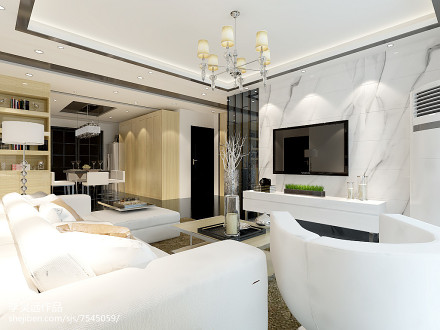 2018精选96平米三居客厅简约欣赏图三居现代简约家装装修案例效果图