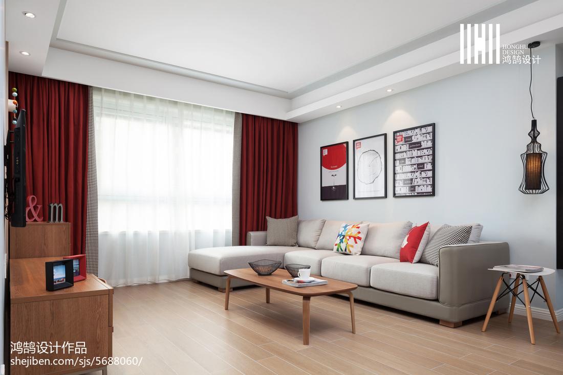 热门面积105平北欧三居客厅装饰图片欣赏客厅
