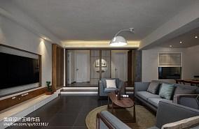 热门面积98平中式三居客厅装修实景图片三居中式现代家装装修案例效果图