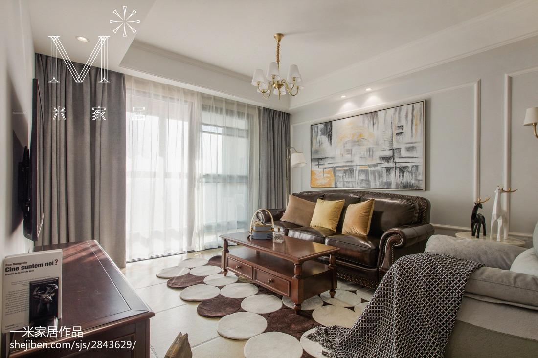 热门大小91平美式三居客厅实景图片101-120m²三居美式经典家装装修案例效果图