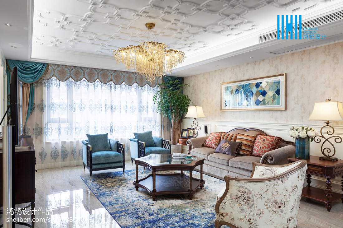 2018精选面积117平别墅客厅美式实景图片欣赏客厅