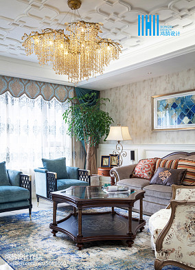 2018美式别墅客厅装修效果图151-200m²别墅豪宅美式经典家装装修案例效果图