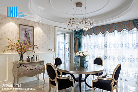 2018120平米美式别墅餐厅装修实景图