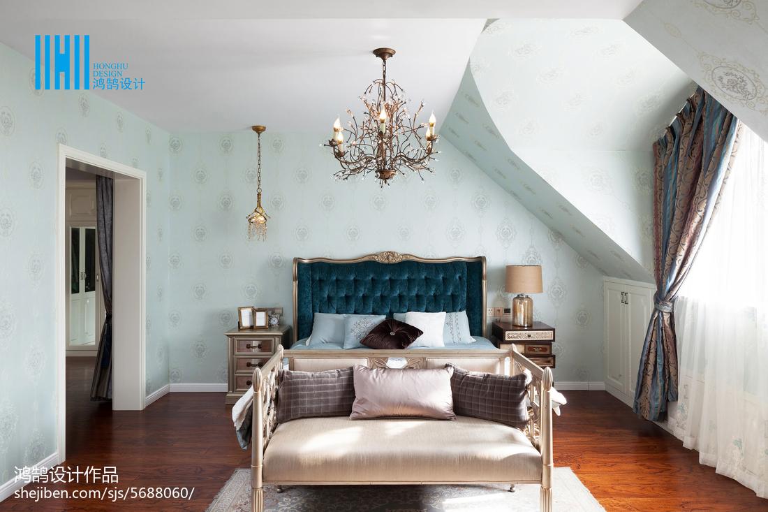 2018面积142平别墅卧室美式装修设计效果图卧室美式经典卧室设计图片赏析