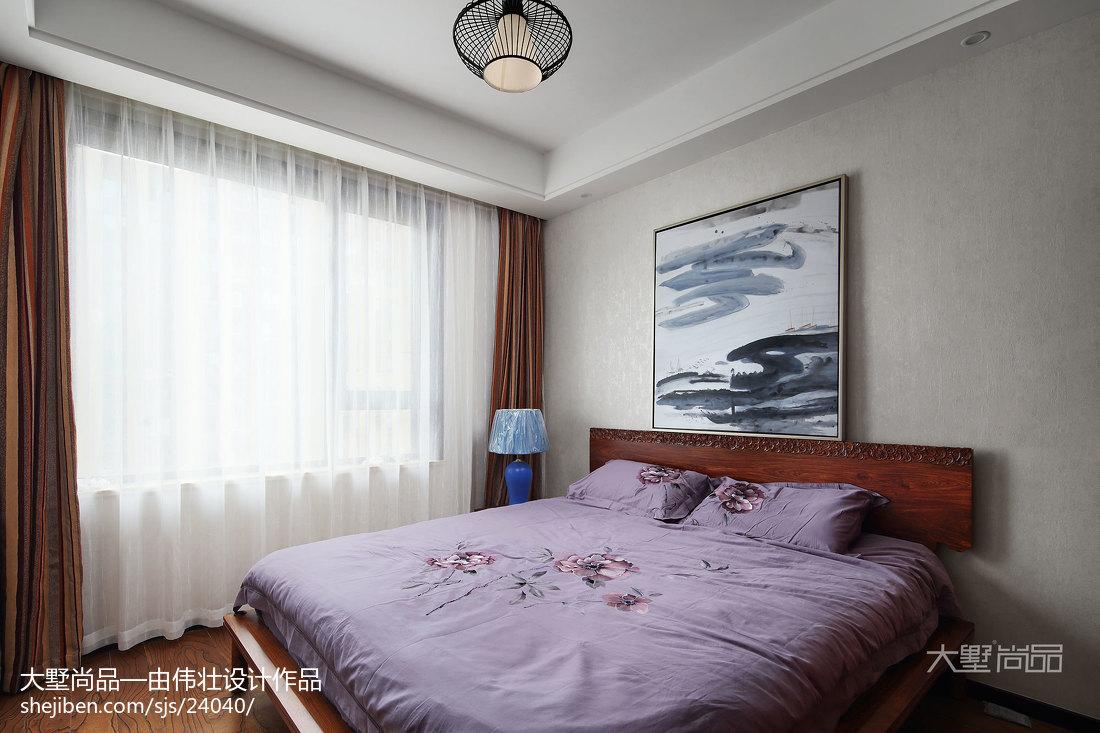 精选面积76平中式二居卧室装修设计效果图卧室窗帘2图中式现代卧室设计图片赏析