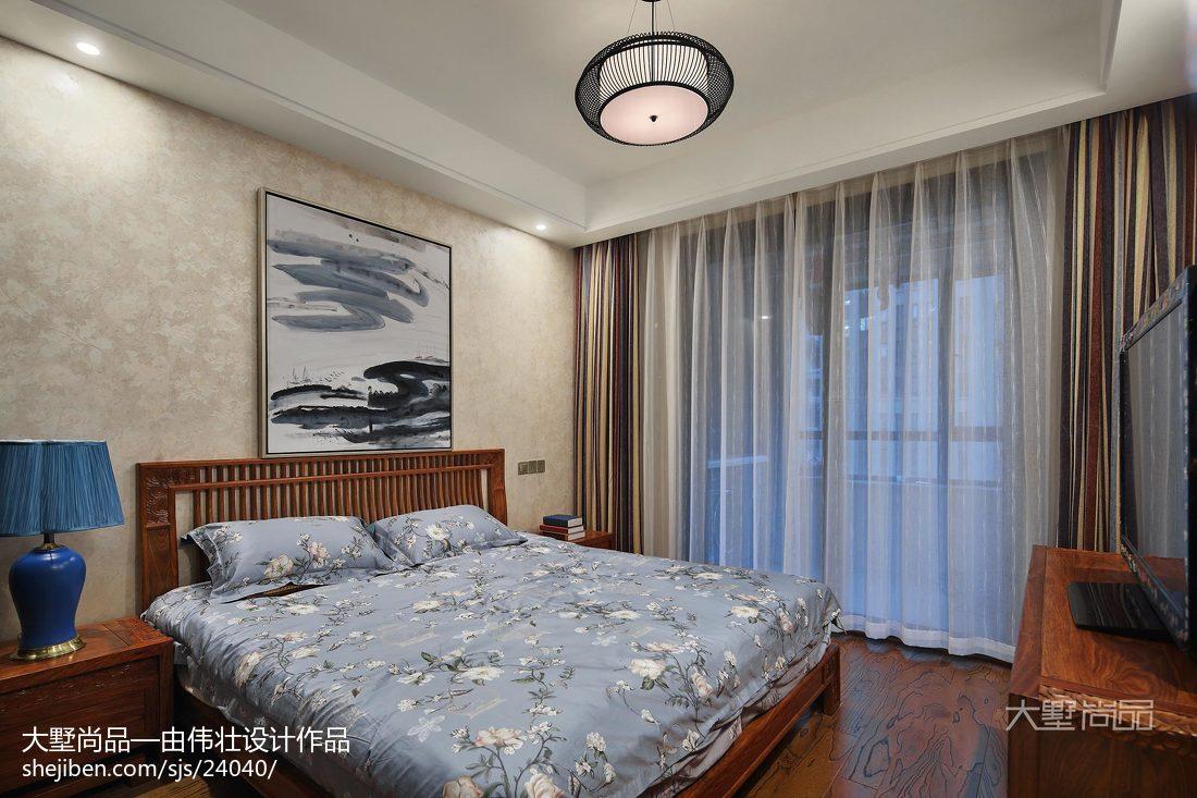 热门83平米二居卧室中式装修图片卧室窗帘1图中式现代卧室设计图片赏析