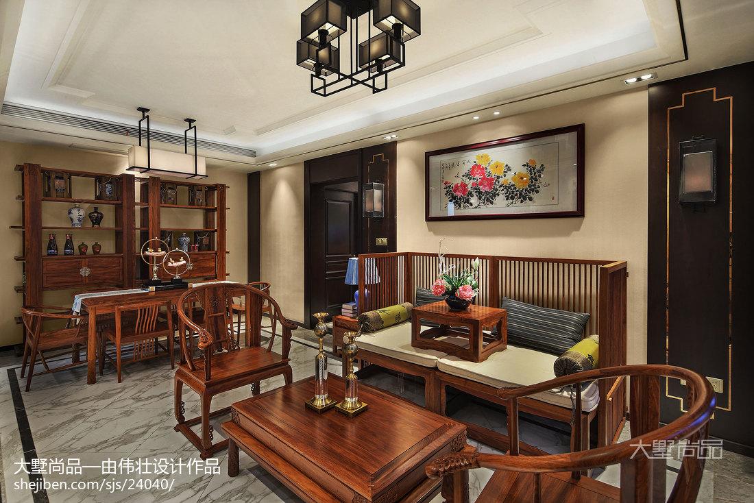 2018精选74平米二居餐厅中式装修设计效果图厨房沙发中式现代餐厅设计图片赏析