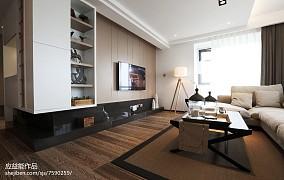 2018精选面积93平简欧三居客厅装修实景图三居北欧极简家装装修案例效果图