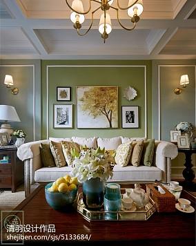 浪漫93平美式二居客厅装修效果图81-100m²二居美式经典家装装修案例效果图