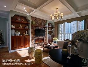 热门面积79平美式二居客厅装修设计效果图片81-100m²二居美式经典家装装修案例效果图