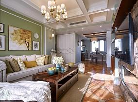 2018面积71平美式二居客厅装修图81-100m²二居美式经典家装装修案例效果图