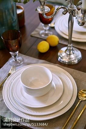 热门82平米二居餐厅美式装饰图81-100m²二居美式经典家装装修案例效果图