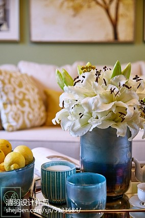 精选85平方二居客厅美式装修设计效果图片81-100m²二居美式经典家装装修案例效果图