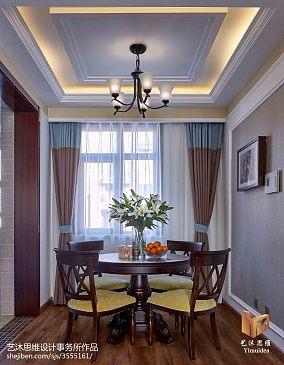 热门面积91平美式三居餐厅装修实景图
