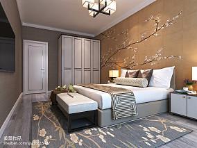 创意简中式卧室布置装饰