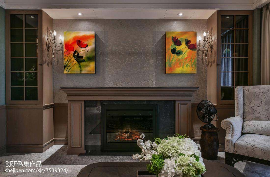 沉稳欧式风格壁炉设计客厅欧式豪华客厅设计图片赏析