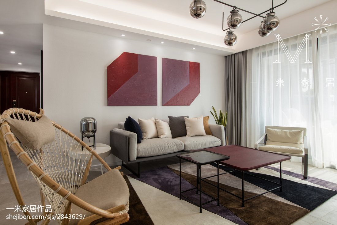 2018面积95平北欧三居客厅装修效果图三居北欧极简家装装修案例效果图
