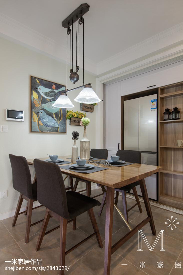 热门108平米三居餐厅美式装修实景图片厨房门美式经典餐厅设计图片赏析